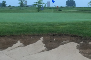 Renovated Bunker Face After Rain